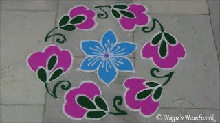 Download Rangoli Design with dots 9-5 - Flower Rangoli Design- Rangoli design with colors - Kolam Designs Video