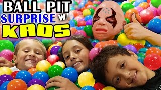 Download BALL PIT SURPRISE! Kids Toy Diving Challenge w/ KAOS 🙎 who is a really really nice guy now! 👾 Video