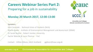 Download Careers Webinar Series Part 2: Preparing for a Job in Sustainability Video
