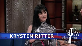 Download Krysten Ritter Teaches Stephen How To Knit (Or Tries Video