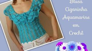 Download 🔴Versão destros: Blusa Ciganinha Aquamarine em crochê tam. P ( 1° parte) # Elisa Crochê Video