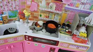 Download Toy kitchen pretend play food cooking spaghetti curry coffee Japan Barbie playset Video