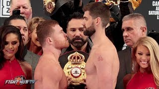 Download SHREDDED CANELO ALVAREZ COMES FACE TO FACE W/GIANT ROCKY FIELDING AT WEIGH IN FACE OFF! Video
