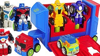 Download Transformers Rescue Bots Academy Flip Racers Bumblebee, Optimus Prime Launcher! #DuDuPopTOY Video