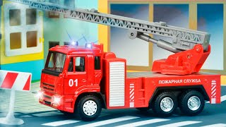 Download The Red Fire Truck with The Police Car | Emergency Cars Cartoon for kids Video