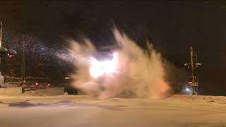 Download Amtrak Train Hits Huge Snowdrift! Video