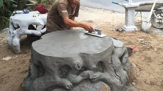Download Construction Project Creative With Sand And Cement - Build A Concrete Table, Skill Working Video