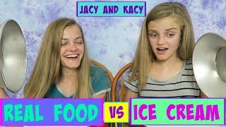 Download Real Food vs Ice Cream Challenge ~ Jacy and Kacy Video