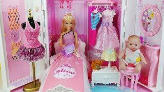 Download Baby doll and Barbie Princess house toys bed Bedroom Bath play 바비 프린세스 미미 하우스 아기인형 침대 목욕 장난감놀이 - 토이몽 Video