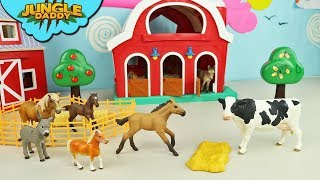 Download FEEDING Farm Animals Horses and Cows | zoo toys in red barn ranch wild schleich Video