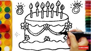 Download Learning Colors for Kids by Drawing Cake, Coloring Pages Fruits Funny Video