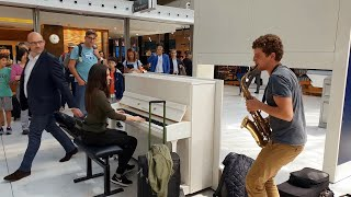 Download This is amazing! A spontaneous piano/sax performance with Ladyva at Charles de Gaulle airport Video