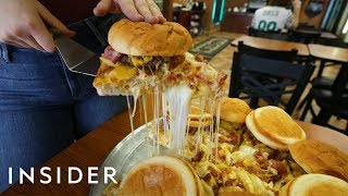 Download We Tried A Pizza Topped With 6 Bacon Cheeseburgers Video