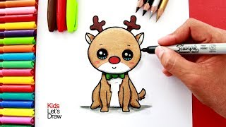 Download Aprende a dibujar y pintar un RENO Navideño kawaii | How to draw a Cute Rudolph The Reindeer Video