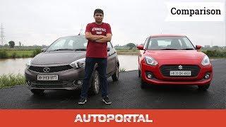 Download Tata Tiago Vs Maruti Suzuki Swift Comparison Review - Auto Portal Video