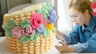 Download Flower basket cake, 소녀감성~♥ 꽃바구니 플라워바스켓 만들기 - 더스쿱 Video