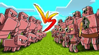 Download Minecraft - Pig Army vs Zombie Pigman Army! (Massive Mob Battles) Video