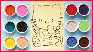 Download Đồ chơi trẻ em TÔ MÀU TRANH CÁT HELLO KITTY cùng chị Chim Xinh Colored Sand Painting Toys Video