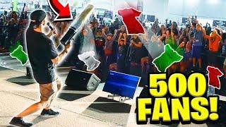 Download 500 FANS vs GIANT T-SHIRT CANNON! Video