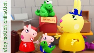 Download Mr Dinosaur and Mrs Detective Peppa Pig tv toys stop motion animation Video