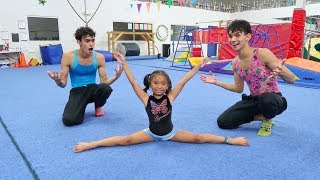 Download OUR LITTLE SISTER TEACHES US GYMNASTICS! Video