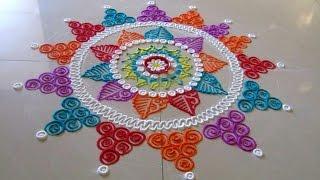 Download Beautiful multicolored rangoli | Creative and unique rangoli design | Poonam Borkar rangoli designs Video