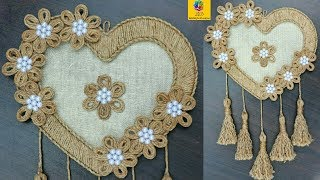 Download DIY Heart Shaped Wall Hanging with Jute Rope | Wall Decor Showpiece Making Using Jute Rope Video