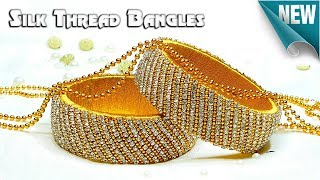 Download How To Make Beautiful Silk Thread Bangles Using Stone Chain, Gold Ball Chain Video