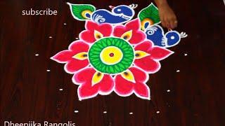 Download Creative Easy Peacock Rangoli Design with 7x4 Dots || vinayaka chavithi muggulu | Friday kolams Video