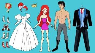 Download PAPER DOLL WEDDING DRESS FOR ARIEL MERMAID PAPERCRAFT HANDMADE DOLLS BRIDE & GROOM Video