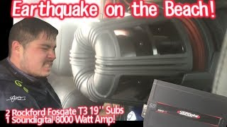 Download Earthquake at the beach! CRAZY BASS! 2 GIGANTIC 19″ Subs Walled! Powered by 1 Soundigital 8000.1d Video