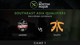 Download Mineski vs Fnatic - Game 1 - The Boston Major SEA Qualifiers - Philippine Coverage Video