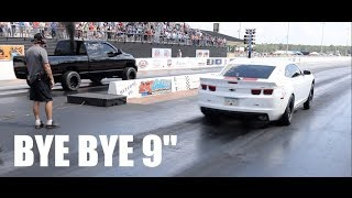 "Download Turbo Camaro's Built 9"" blows up against 1000hp diesel truck! Video"