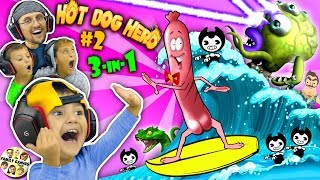 Download SHAWN plays HOT DOG HERO! 😆 Bendy & Hello Neighbor get Eaten!! (FGTEEV 3-in-1 Games w/ Venom) Video