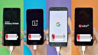 Download Samsung Galaxy Note 8 vs OnePlus 5 vs Pixel XL vs LG G6 - Battery Drain Test! (4K) Video