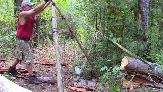 Download Mechanical Advantage of a Paring Ladder to Move Logs Uphill Video