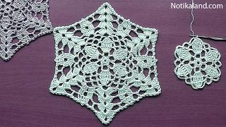 Download CROCHET Flower Pattern for Doily Tablecloth Blanket Motif Hexagon Tutorial #3 Part 1 Video