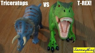 Download Dinosaur Toys: R/C T-Rex VS Triceratops Dinosaurs Unboxing & Playtime 2 of 2 Video