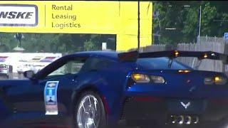 Download General Motors Executive Vice President Mark Reuss crashes Corvette at Detroit Grand Prix Video