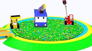 Download Le Toboggan géant et la piscine à balles - Apprendre avec Tiny Trucks: bulldozer, grue, tractopelle Video