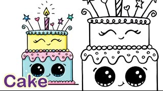 Download How to Draw a Cartoon Birthday Celebration Cake Cute and Easy Video