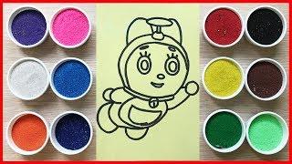 Download Đồ chơi TÔ MÀU TRANH CÁT mèo Đôrêmi em gái của Đôrêmon cùng chị Chim Xinh Learn Colors Sand Painting Video