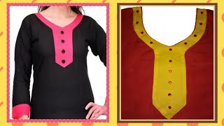 Download How To Cut And Stitch Designer Curved V Neck With Long Sweet Heart And Piping On Neck Line Video