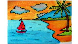 Download cara menggambar pemandangan alam pantai dengan krayon oil pastel (versi lambat) Video