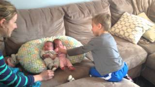 Download Brother meets triplet siblings for the first time! 2 in the video, 3rd came home two days later. Video
