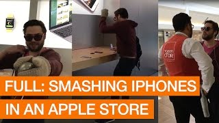 Download Angry Customer Smashes iPhones With Metal Ball In Apple Store (Storyful, Crazy) Video