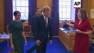Download Prince Harry and Meghan Markle meet Irish PM Varadkar in Dublin Video