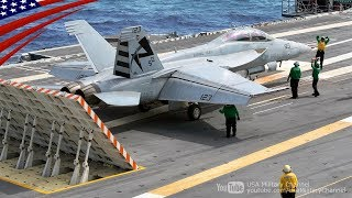 Download F/A-18戦闘機の電磁カタパルト射出、着艦、タッチアンドゴー - 最新鋭空母ジェラルド・R・フォード Video