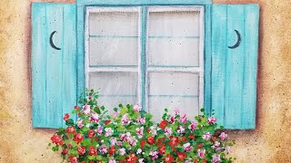 Download Floral Window Box Acrylic Painting LIVE Tutorial Video