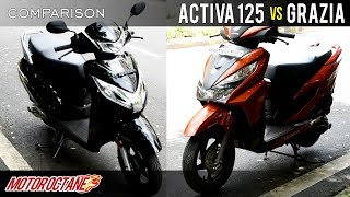 Download 2018 Honda Activa 125 vs Honda Grazia Comparison | Hindi | MotorOctane Video